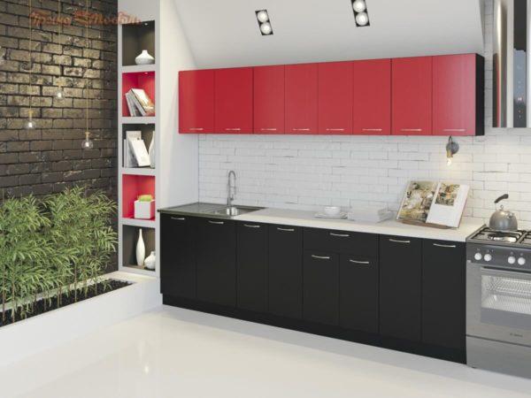 Кухня Лана ЛДСП прямая красная черная
