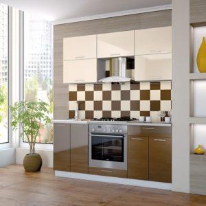 Кухня Мила Глосс МДФ прямая глянцевая 2,0 метра шоколад ваниль