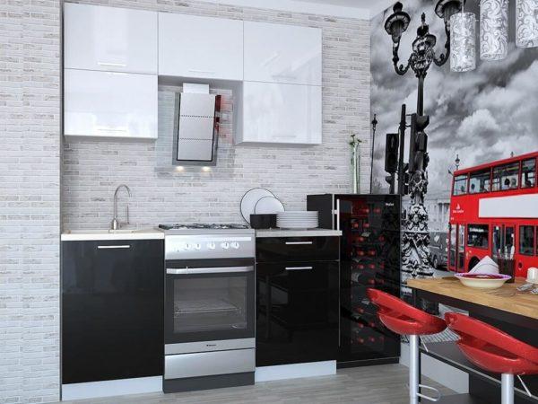 Кухня Мила Глосс МДФ прямая глянцевая 2,2 метра черный белый