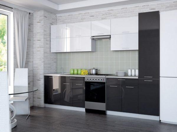 Кухня Мила Глосс МДФ прямая глянцевая 2,6 метра черный белый с пеналом