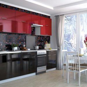 Кухня Мила Глосс МДФ прямая глянцевая 2,7 метра бордовый черный
