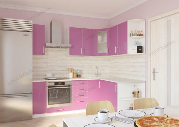 Кухня Твист-1 из ЛДСП угловая пластик 2,2 метра розовая