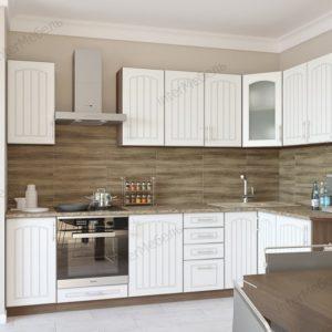Кухня Твист 12 МДФ угловая 2,8*1,6 метра жемчуг текстурный