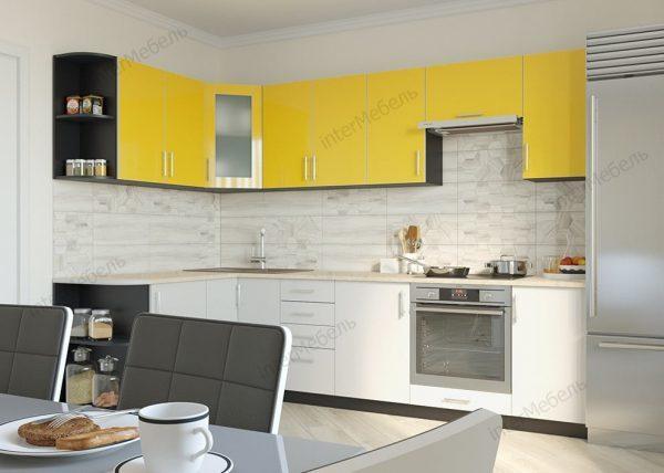Кухня Твист-14 из ЛДСП угловая пластик 2,9 метра желто белая