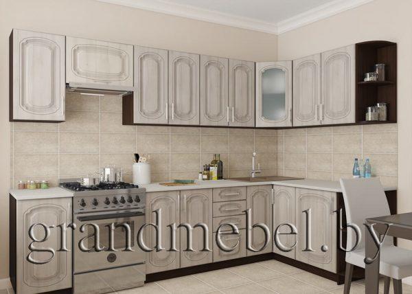 Кухня Твист-18 МДФ угловая 3,0*1,6 метра жемчуг текстурный