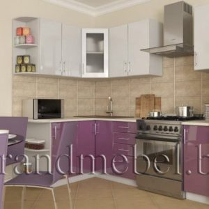 Кухня Твист-2 МДФ глянец угловая 2,2*1,5 метра фиолетовый металик