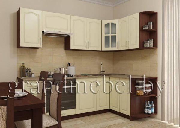 Кухня Твист-4 МДФ угловая 2,4*1,4 метра ваниль