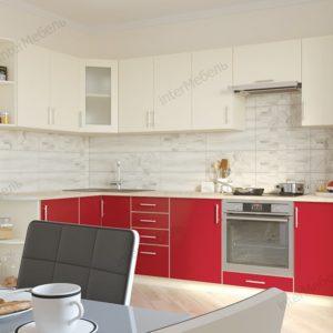 Кухня Твист-6 ЛДСП Еггер угловая 2,4*1,6 метра ваниль красный