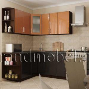 Кухня Твист-9 МДФ глянец угловая 2,6*1,6 метра кальвадос