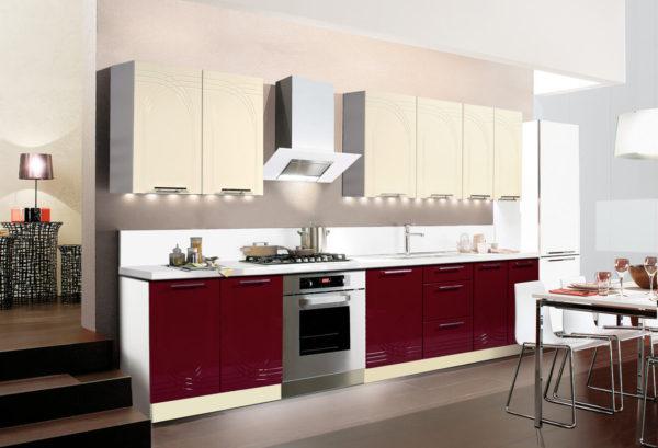 Прямая (линейная) кухня Оля из МДФ. Цвет: бордо ваниль