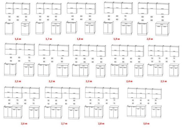 Размеры и схемы кухни Мила Глосс под мойку 50