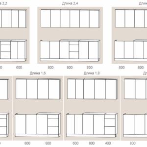 Размеры и схемы кухни Оля ЛДСП