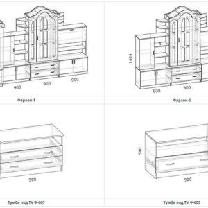 Схема и размеры стенка в зал Фараон 2