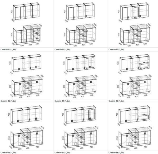 Схемы и размеры кухни Симпл 10-18 ЛДСП Эггер