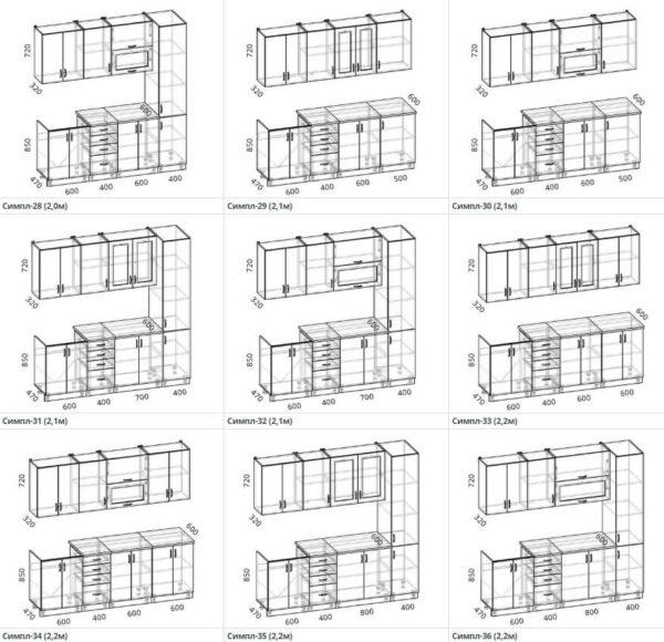 Схемы и размеры кухни Симпл 28-36 ЛДСП Эггер