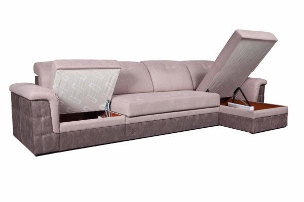 угловой диван Конкорд Премиум с открытыми ящиками