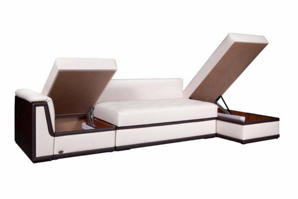 Угловой диван Вегас Премиум с разложенными ящиками