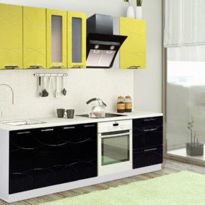 Глянцевая кухня Оля МДФ черная олива