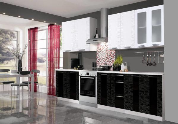 Глянцевая кухня Оля МДФ черно белая