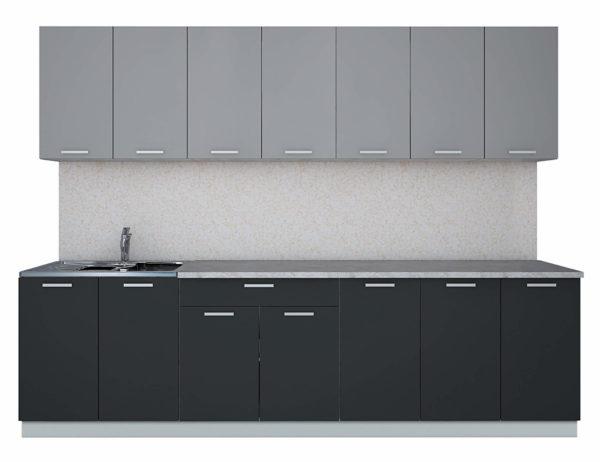 Кухня Мила Лайт ЛДСП прямая 2,8 метра серебро антрацит
