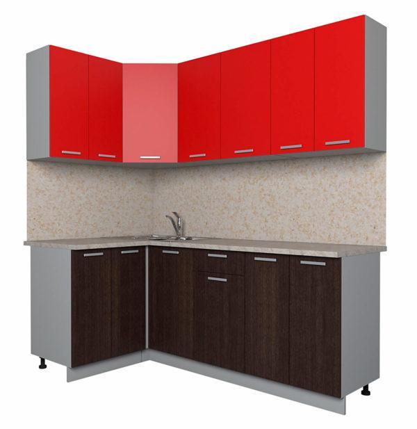 Кухня Мила Лайт ЛДСП угловая 1,2 х 2,0 метра красный дуб венге