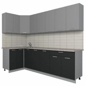 Кухня Мила Лайт ЛДСП угловая 1,2 х 2,6 метра серебро антрацит