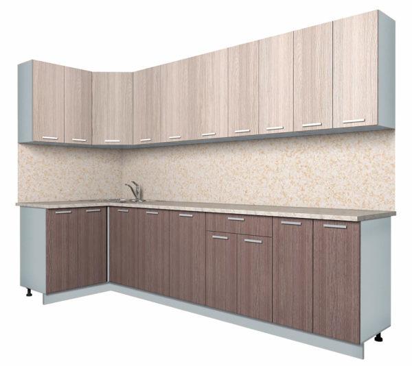 Кухня Мила Лайт ЛДСП угловая 1,2 х 3,0 метра ясень светлый ясень темный