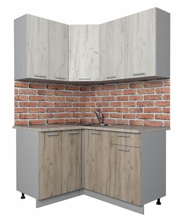Кухня Мила Лайт ЛДСП угловая дуб белый дуб серый 1,2 х 1,4 м