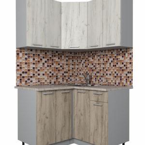 Кухня Мила Лайт ЛДСП угловая дуб белый дуб серый 1,2 х 1,2 м