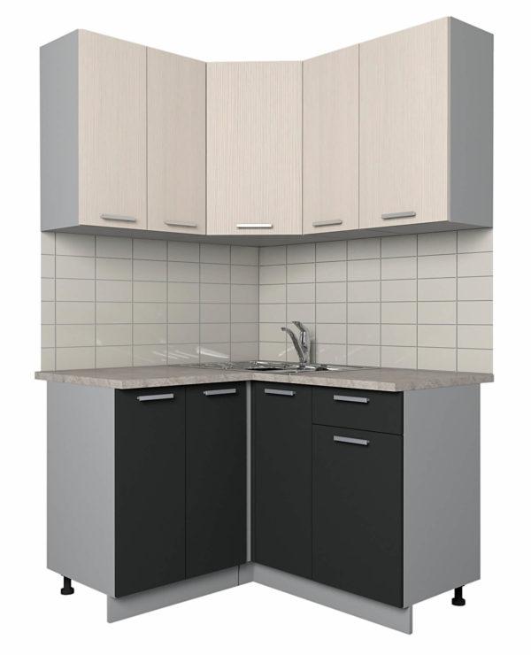 Кухня Мила Лайт ЛДСП угловая вудлайн антроцит 1,2 х 1,3 метра