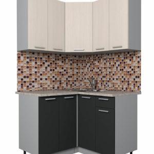 Кухня Мила Лайт ЛДСП угловая матовая вудлайн антрацит 1,2 х 1,2 м