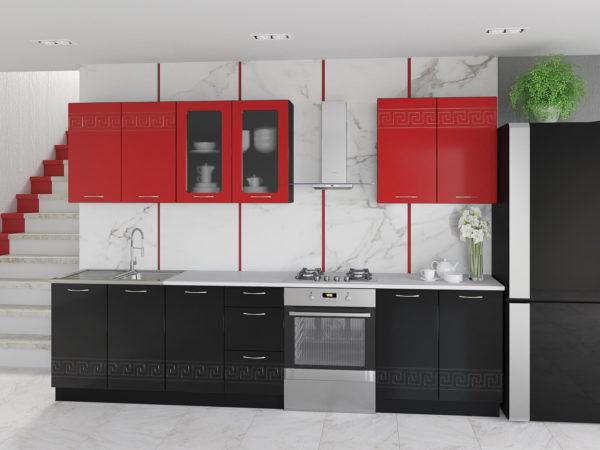 Глянцевая кухня Оля МДФ красно черная