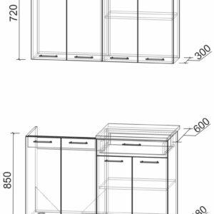 Размеры и схема кухни Мила Лайт 1,2
