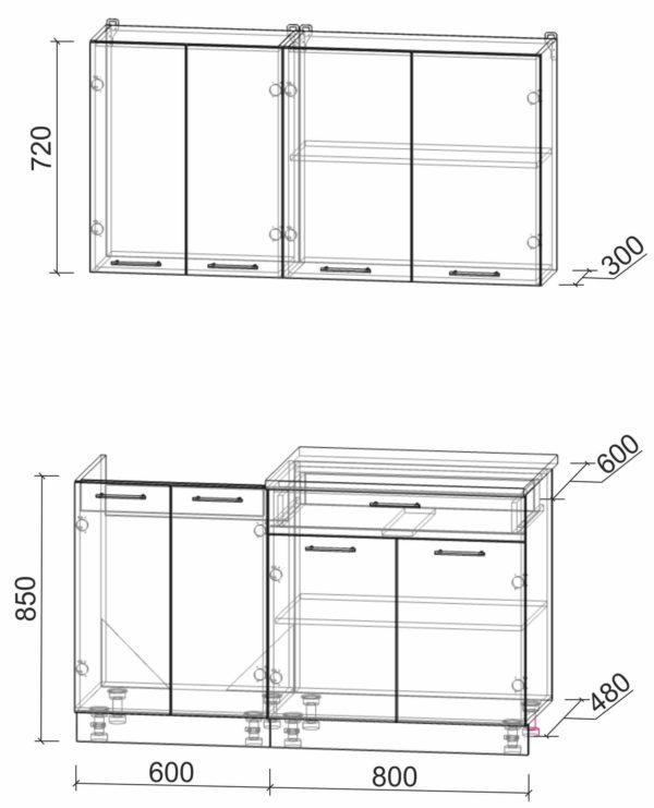 Размеры и схема кухни Мила Лайт 1,4-60