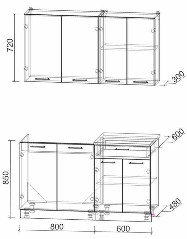 Размеры и схема кухни Мила Лайт 1,4