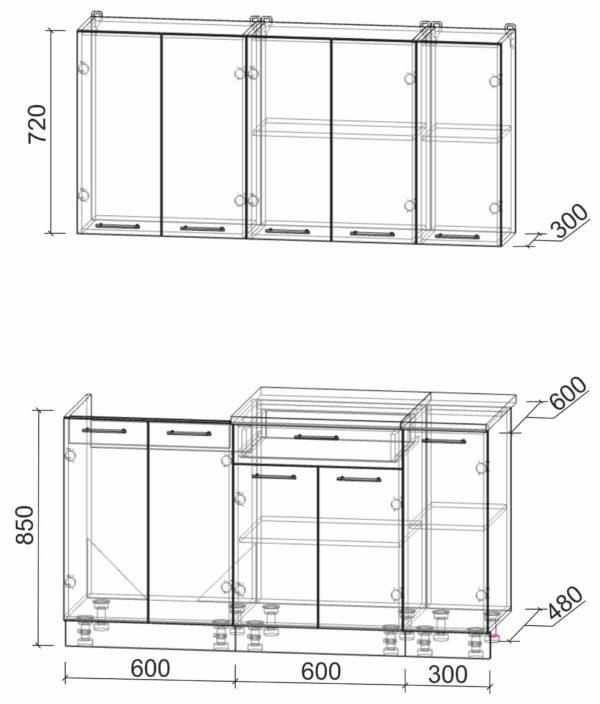 Размеры и схема кухни Мила Лайт 1,5