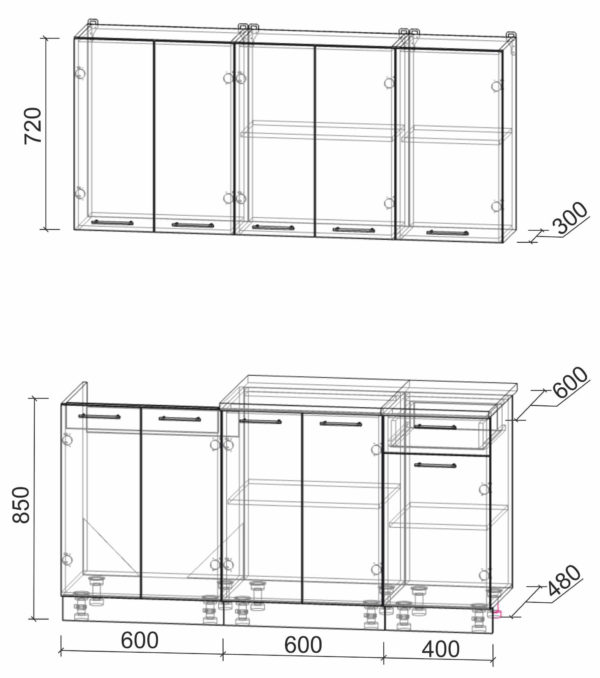 Размеры и схема кухни Мила Лайт 1,6-60