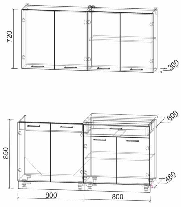 Размеры и схема кухни Мила Лайт 1,6