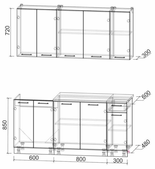 Размеры и схема кухни Мила Лайт 1,7-60