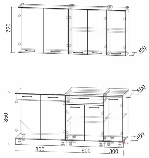 Размеры и схема кухни Мила Лайт 1,7