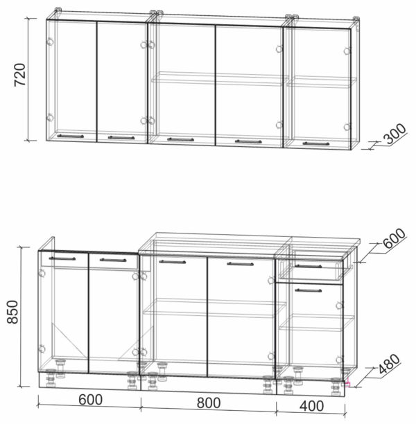Размеры и схема кухни Мила Лайт 1,8-60
