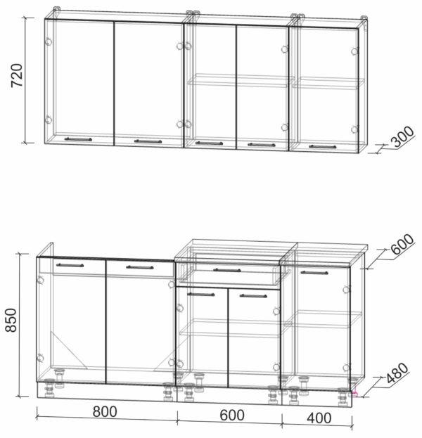 Размеры и схема кухни Мила Лайт 1,8