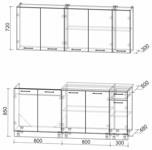 Размеры и схема кухни Мила Лайт 1,9