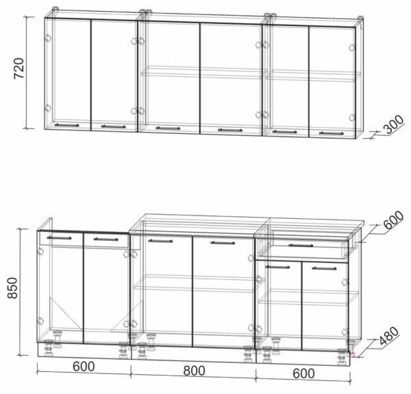 Размеры и схема кухни Мила Лайт 2,0-60