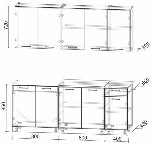 Размеры и схема кухни Мила Лайт 2,0
