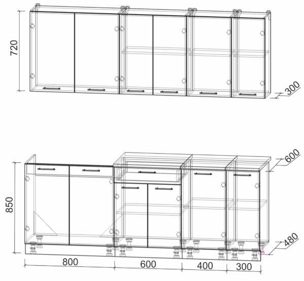 Размеры и схема кухни Мила Лайт 2,1