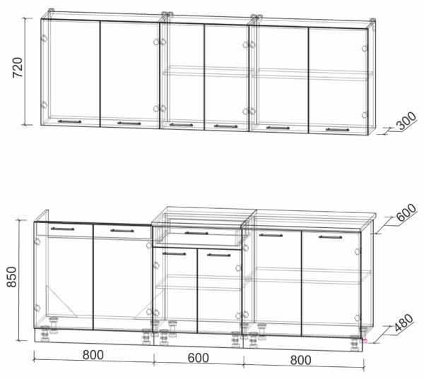 Размеры и схема кухни Мила Лайт 2,2