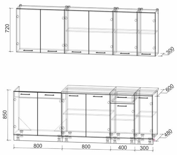 Размеры и схема кухни Мила Лайт 2,3