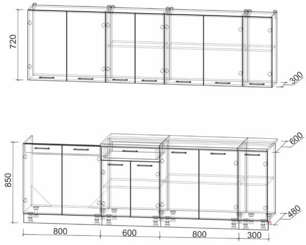 Размеры и схема кухни Мила Лайт 2,5