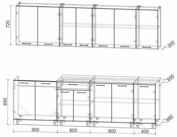 Размеры и схема кухни Мила Лайт 2,6